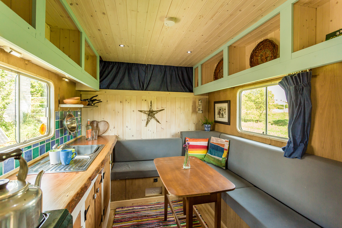 Kitchen diner in the off grid horse truck